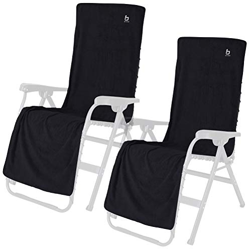 2X Universal Frottee Sitzbezug für Stühle Stuhlbezug - Sitz Auflage - anthrazit - 180 x 58 cm - Campingstuhl Klappstuhl Gartenstuhl Liegestuhl Schonbezug weicher Bezug Überzug für Stühle Stoffbezug