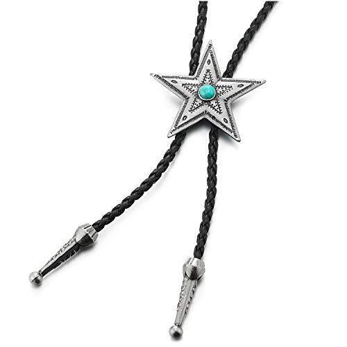 COOLSTEELANDBEYOND Punk Rock Estrella Bolo Tie Corbata con Turquesa, Lariat Collar, Trenzado Cuero Rodeo Largo Y Collar de Hombre Mujer
