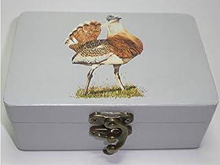 """Caja artesana decorada""""El barbón"""", Avutarda común (Otis tarda), Great bustard"""