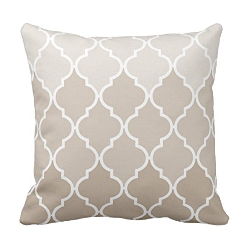 Throw Pillow Cover Teal MOROCAN Trendy Chic Girly Cream Brown Quatrefoil Funda de Almohada Decorativa Elegante Funda de Almohada