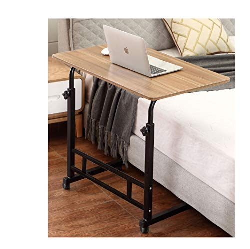 Akway Mobile Laptop Desk Cart 31.5 x 19.6 inches Rolling Cart Notebook Computer Stand Bed Table for Eating Teak