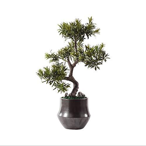 Bonsái artificiales Nuevo chino Zen artificial cedro, Decoración Planta artificial Piedra artificial Bonsai, Salón de té japonesa armario Porche artificial Árbol artificial en maceta plantas artificia