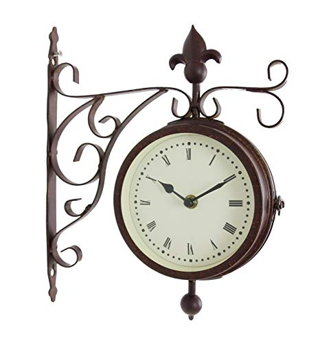 Bestime Metal Case Double Side Clock. Antique Tin Look. Indoor/Outdoor Garden