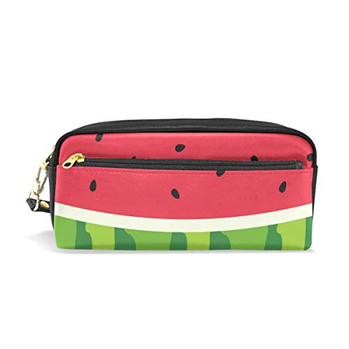 Pencil Case Big Capacity Pencil Bag Makeup Pen Pouch Watermelon Slice Background with Seed Skin Durable Students Stationery Pen Holder for School/Office