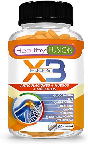 Healthy Fusion Cúrcuma con glucosamina, condroitina y colágeno | Elimina el dolor en músculos, articulaciones y huesos | 90 cápsulas 130 g