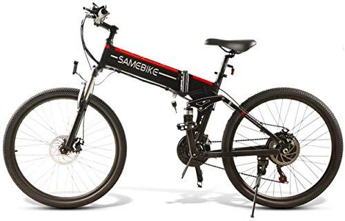 WJSWD Bicicleta eléctrica de nieve de 26 pulgadas, bicicleta eléctrica de 350 W, bicicleta de montaña deportiva con batería de litio de 48 V, 10 Ah, máx. 80 km, batería de litio para adultos