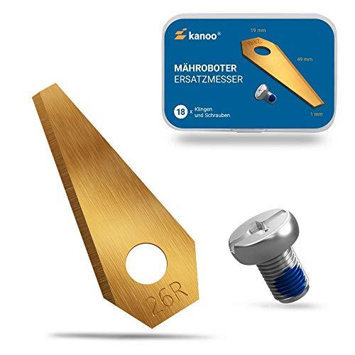 kanoo® Mähroboter Messer, 18x Titan Ersatzmesser für Bosch Indego Rasenroboter - Premium Mähroboter Klingen Rasenmäher Roboter Ersatzklingen mit verbessertem Konzept