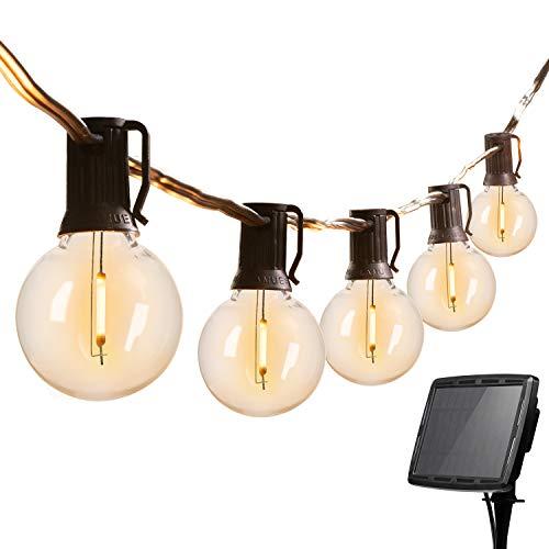 Brightown 20FT Solar String Lights Outdoor G40 Patio Lights with 20 LED Shatterproof Bulbs & 4 Light Modes, Weatherproof Hanging Lights for Backyard Bistro Pergola Party Decor, E12 Base, 2700K, Black