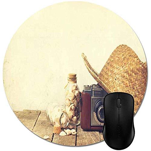 Mauspad,Sommer-Strohhut Mit Alter Weinlese-Kamera Und Muscheln Auf Hölzerner Mausunterlage Stilvolle Büro-Computer-Zusatz-Stilvolle Laptop-Spielunterlage 20X20Cm