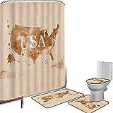 Juego de cortinas baño Accesorios baño alfombras Americana Alfombrilla baño Alfombra contorno Cubierta del inodoro Mapa retro americano temprano del país suroeste y Alaska imagen impresa,Perú marrón b