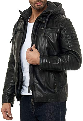 Redbridge - Chaqueta de Cuero Acolchada en Negro con Capucha Desmontable para Hombre