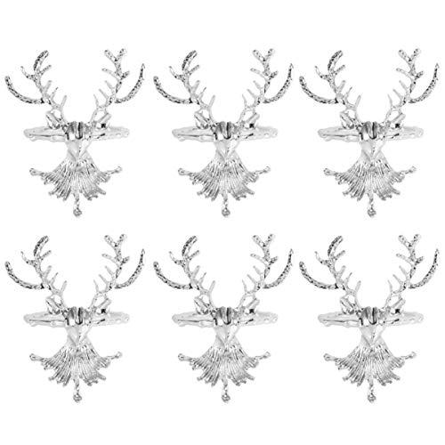 NUOBESTY Serviettenringe, 6 Stück Hirsch-Servietten-Ringe, für Weihnachten, Urlaub, Hochzeit, Empfang, Abendessen, Tischdekoration (Silber)