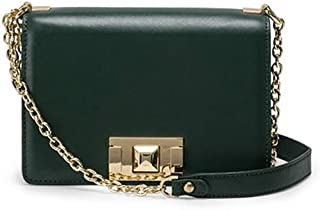 Rjj First Layer of Leather Metal Latch Small Square Package/Ladies Shoulder Bag Messenger Bag/Creative Business Package Exquisite (Color : Green)