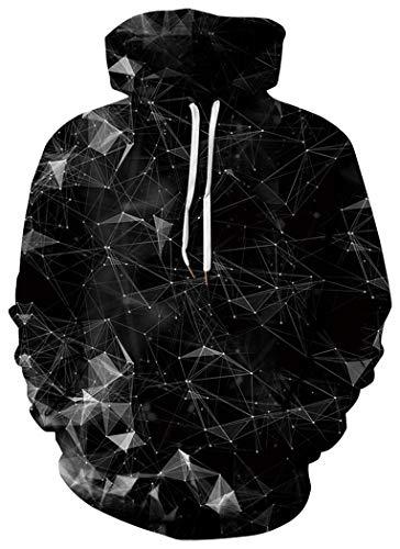 BarbedRose Men's Digital Print Sweatshirts Hooded Top Galaxy Pattern Hoodie,Black Galaxy,S/M