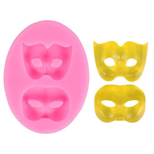 DUBENS Masker siliconen vorm, 3D masker chocolade fondant vormen voor het versieren van taarten sugarcraft snoep vormen polymeer klei vormen cupcake topper decoratie