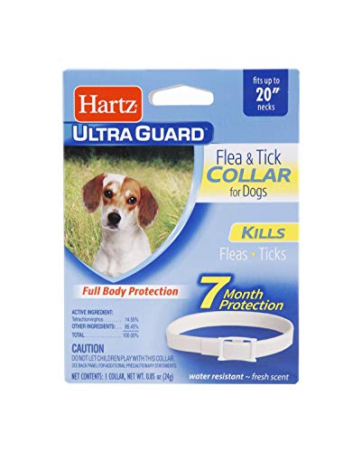 Hartz UltraGuard Flea & Tick Collar for Dogs and Puppies, 7 Month Flea and Tick Protection and Prevention Per Collar, White, Up to 20 Inch Neck