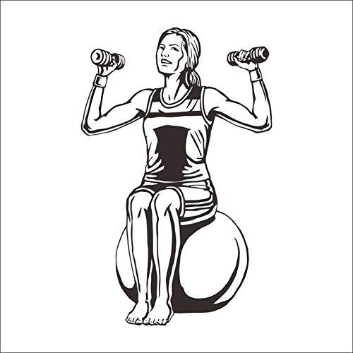 Pegatinas de pared para niñas adolescentes, Diy Gym Sport Cotizaciones Palabras Extraible Gimnasio Etiqueta De La Pared Moda Gimnasio Decoracion Del Hogar Family Romantic Vinyl Decal Home 37x58cm