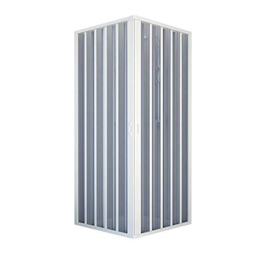 Forte BR100001Duschkabine, Eckausführung, reduzierbar, zentrale Öffnung, weiß, 60-80 x 60– 80 cm, Höhe 185cm.
