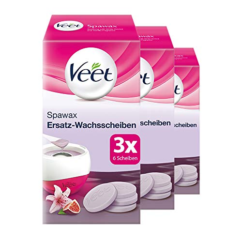 Ersatzwachsscheiben 3er Pack für elektrisches Warmwachs-Set für langanhaltende Haarentfernung für seidig glatte Haut Veet Spawax Warmwachsscheiben 3x6 Stück