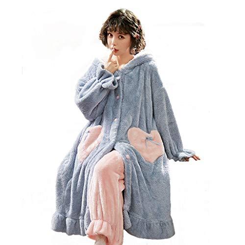 Pijamas Otoño E Invierno Franela Mujer Túnica De Engrosamiento Peluda Albornoz Linda Fleece De Coral Túnica Larga (Color : Blue, Size : XXL)