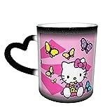 Hello Kitty Cartoon Anime Carino Gatto Tazza da Caffè in Ceramica Tazze da Tè Cambia Colore Novità Famiglia Amici Ufficio e Home Salute Regalo