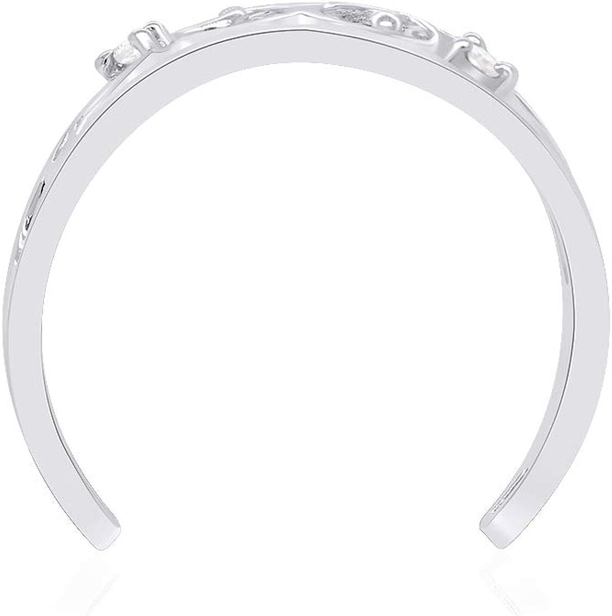 White Natural Round Diamond Accent 14k Gold Filigree Style Adjustable Toe Ring (I-J Color, I2-I3 Clarity)