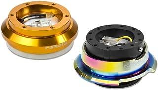 NRG-SRK-110H-RG+280BK-MC, NRG Innovations Steering Wheel 6-Hole Aluminum Ball Bearing Short Hub Adapter with Gen 2.8 Neo Chrome Black Quick Release SRK-110H