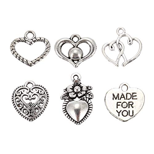 Facibom 30pcs Mixed Style Heart Pendants Charms Findings - Jewellery Making Findings for DIY Craft