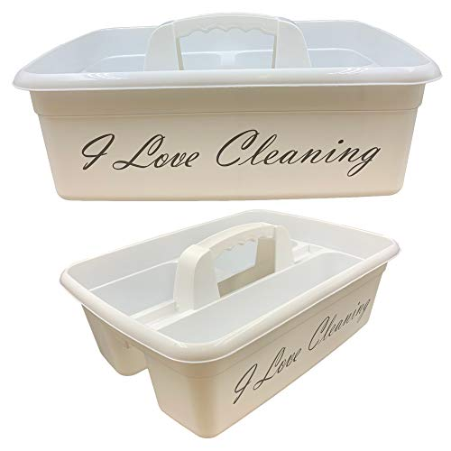 TDBS The Dustpan and Brush Store I Love Cleaning Caddy Cleaners Carry All Tote Tray Basket with...