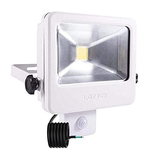 LOFTEK Luz LED de seguridad con sensor de movimiento, sensor automático ajustable, cuerpo completo de metal, luz de anochecer al amanecer