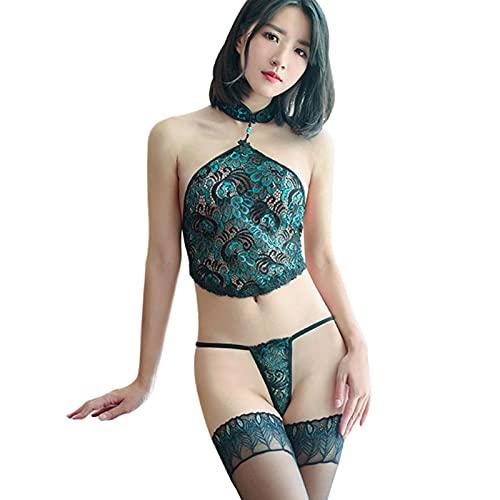 Cloudy Lencería Sexy lencería exótica Pavo Real Cosplay Disfraces sexuales Ropa Interior + Pantalones t + Medias Mujeres Calientes Producto Sexual íntimo