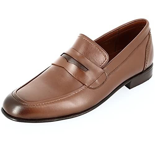 Calzado para hombre Richelieu Mocassin de piel coñac, Marrón (marrón), 40 EU