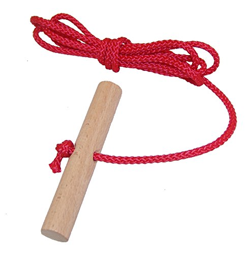 Looping-Lu Schlittenseil mit Holzgriff aus Buchenholz 1 Zugseil (Rot)