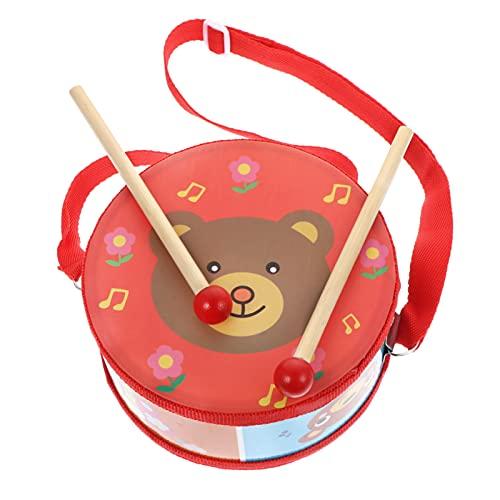 VILLCASE Kinder Holz Drum Set Cartoon Tragen Muster Percussion Trommel mit Mallet Stick Früh Pädagogisches Spielzeug für Baby Kleinkind Kinder Rot