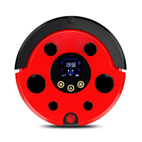 HJQFSJ Roboter-Staubsauger mit hohen Saugleistung, Intelligent Anti-Fall-Sensor, 100 Minuten Automatische Lauffähigkeit, Roboter-Staubsauger mit Fußboden Waschfunktion (Color : Red)