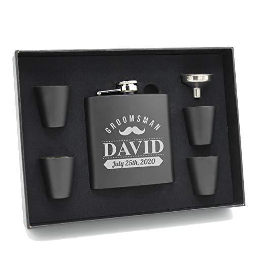 Personalized Black Matte Flask Set - Wedding Groomsmen - Custom Engraved and Monogrammed