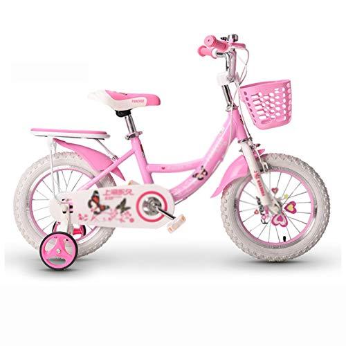 Kids Bikes Chunlan Rojo/Rosa Niños Bicicleta Niña Estructura De Acero Al Carbono Cubierta De Cadena Completa Ruedas De Entrenamiento Y Asiento Trasero 14/16/18 Pulgadas(Color:Rosado,Size:16 Inches)