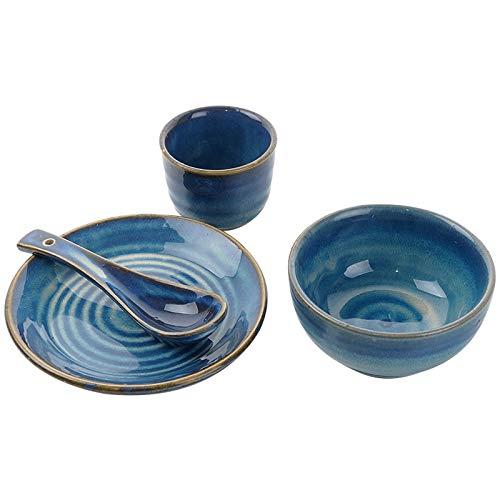Vajillas combinadas Conjunto de cuatro piezas de gres comercial Cuenta con vajilla retro Blue Hotel Platos, tazas, cucharas y platos, restaurante de cuatro piezas Juego de cuenco y plato