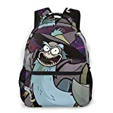 NiYoung Hiking Work Walking Cycling Backpack Daypack Durable Polyester Multipurpose Anti-Theft Backpack Big Capacity Bookbag, Psychedelic Cartoon Rick-and-Morty Art