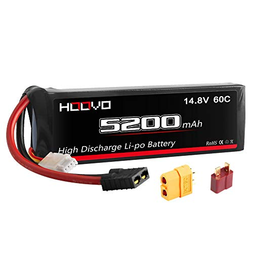 HOOVO 4S 14.8V 5200mAh 60C Lipo Battery Traxxas Plug Pack with XT60 and Deans Plug Connector for RC Helicopter RC Airplane Quadcopter Drone RC Boat