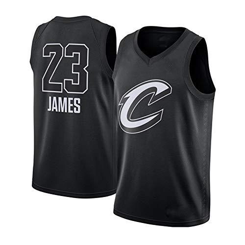 Camisetas De Baloncesto Para Hombres, Cleveland Cavaliers # 23 LeBron James Jerseys De La NBA Sin Mangas Malla Bordada Uniformes De Baloncesto Casual Chaleco Suelto Camisetas,Negro,L(175〜180CM)
