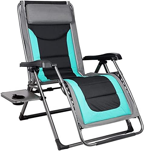 KEYREN Outdoor Reclining Zero Gravity Chair Zero Gravity Chairs,with Pillow and Patio Outdoor Adjustable Dining Reclining Folding Chairs for Deck Patio Beach Yard Chairs
