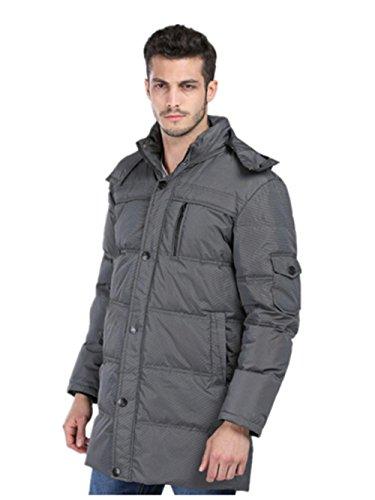 XYLUCKY Mode Herren Lange Abschnitt weiße Gänsedaunen Eiderdaune Jacke Wintermäntel, L, Dark Gray