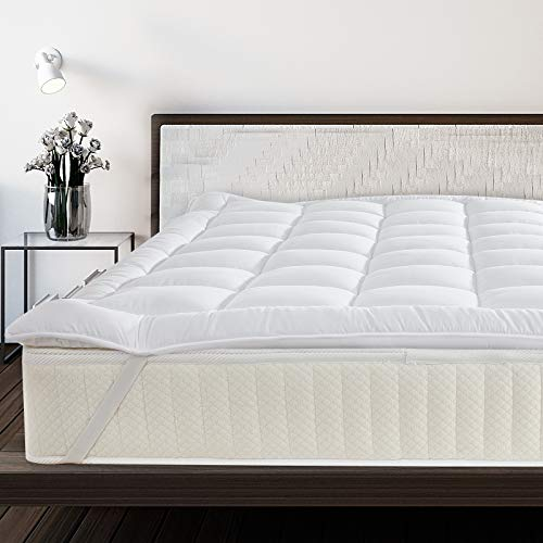 JinJeeo - Protector de colchón acolchado para cama de matrimonio California King, ajuste alternativo de ancla de 4 esquinas, extra profundo, se adapta a la funda de cama de 20...