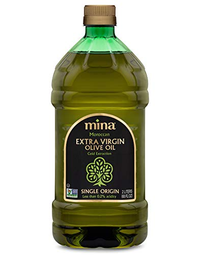 Mina Extra Virgin Olive Oil, Single Origin, Cold Extracted, Early Harvest, Healthy Moroccan Olive Oil High in Polyphenols – 68 Fl Oz (2 Liters)