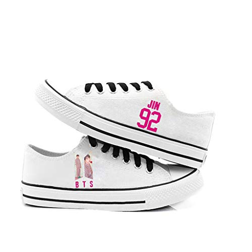 HJJ Zapatos bts Kpop BTS de alta superior con cordones / hip-hop y de las zapatillas de deporte for los hombres de las mujeres del estilo de los zapatos de lona casual, con la foto miembro + Número /
