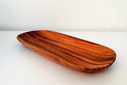 Holzteller Holzschale ca. 35 x 15 cm Holz Teller oval Nostalgie - Akazie - Mittelalter - Landhaus Stil - Fair Trade