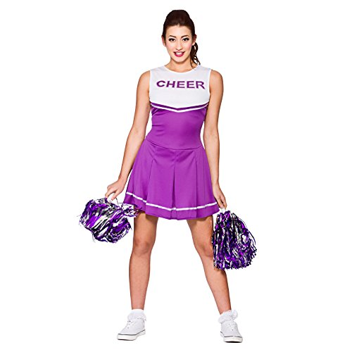 Ladies High School Cheerleader Purple Fancy Dress Up Party Costume Halloween