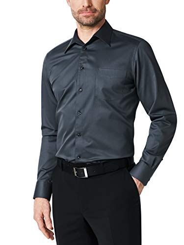 Walbusch Herren Hemd Bügelfrei Naturstretch einfarbig Anthrazit 43 - Langarm extra kurz