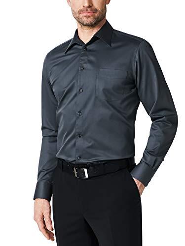 Walbusch Herren Hemd Bügelfrei Naturstretch einfarbig Anthrazit 39 - Langarm extra kurz